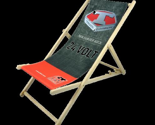 Liegestühle mit Logo